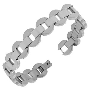 Stainless Steel Silver-Tone Link Chain Mens Womens Bracelet with Clasp