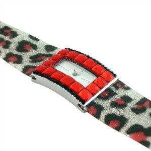Fashion Alloy Red Black Multicolor Leopard CZ Rectangle Face Watch