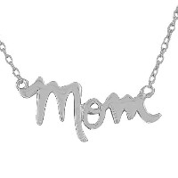 925 Sterling Silver Mom Mother Charm Classic Pendant Necklace with Chain