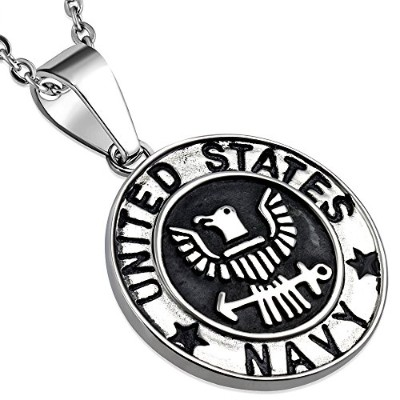 Stainless Steel Silver-Tone United States Army Eagle Navy Pendant Necklace