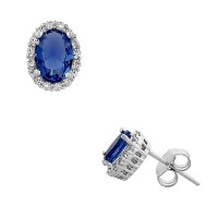 925 Sterling Silver Oval Royal Blue White CZ Stud Earrings
