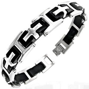 Stainless Steel Two-Tone Black and Silver Religious Cross Mens Link Bracelet