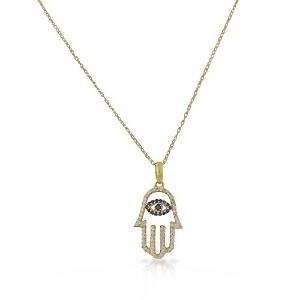 925 Sterling Silver Yellow Gold-Tone White Blue CZ Hamsa Hand Pendant Necklace