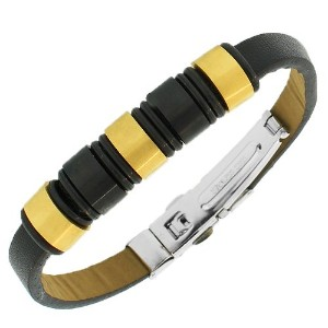 Stainless Steel Black Leather Yellow Gold-Tone Silver-Tone Men's Bracelet
