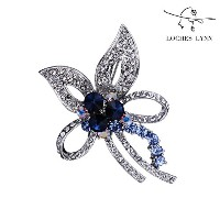 Loches Lynn Blue Gem Flower Bouquet Fashion Brooch Pendant STELLUX Elements AUSTRIAN CRYSTALS (B...