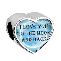 LovelyJewelryハートI Love You To The Moon And Backダングルの赤合成クリスタルビーズチャームブレスレット