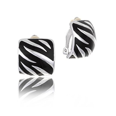 Black Enamel Silver Tone Rhodium Plated Comfort Clip on Earring in Box | Mothers Day Gifts