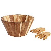 Kenleyサーバのサラダボウル – Large Wooden Serving Set with Hands – Acacia Wood – 自然と環境に優しい – 10.5-inch by 6...