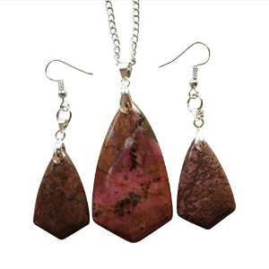Yuteng Fashion One Set Rhodonite Inverted Triangle Necklace & Earrings
