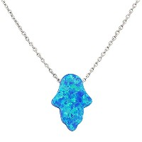 925 Sterling Silver Womens Evil Eye Hamsa Blue Turquoise-Tone Loose Simulated Opal Pendant Necklace