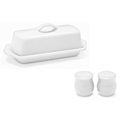 (Standard, White) - Chantal Set of White Standard Covered Butter Dish and Salt and Pepper Shakers