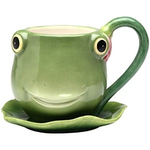 Appletree 3-7/8-Inch Ceramic Frog Cup and Saucer [並行輸入品]