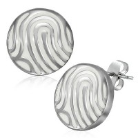 Stainless Steel White Silver-Tone Round Classic Womens Girls Stud Earrings