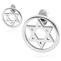 Stainless Steel Silver-Tone Classic Jewish Star of David Stud Earrings