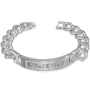 Stainless Steel Silver-Tone Mens Greek Key Link Chain Bracelet with Clasp
