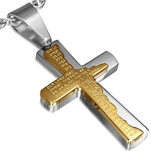 Stainless Steel Two-Tone Cross Crucifix Prayer in English Pendant Necklace