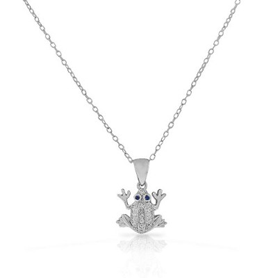 925 Sterling Silver White Clear Blue CZ Frog Pendant Necklace