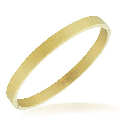 Stainless Steel Yellow Gold-Tone Lords Prayer in English Bangle Bracelet
