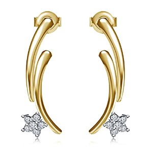 Vorra Fashion 14K Gold Plated 925 Sterling Silver Round Cut Cubic Zirconia Stud Earring