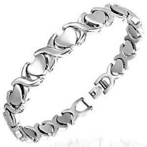 Stainless Steel Silver-Tone Love Heart Link Chain Womens Bracelet