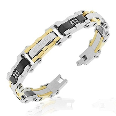 Stainless Steel Black Gold-Tone Silver-Tone CZ Greek Key Link Mens Bracelet