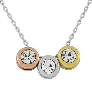 925 Sterling Silver Yellow Rose Three Triple CZ Pendant Necklace