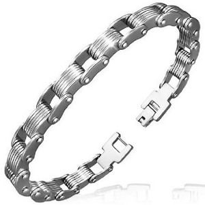 Stainless Steel Silver-Tone Mens Link Chain Bracelet with Clasp