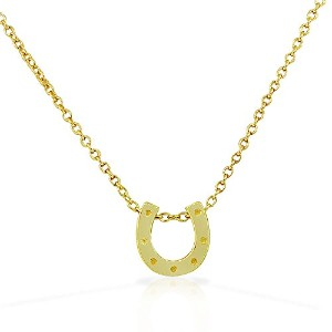 925 Sterling Silver Yellow Gold-Tone Small Horseshoe Good Luck Pendant Necklace