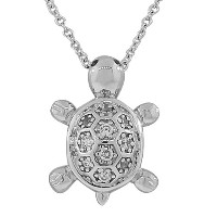 925 Sterling Silver Turtle White CZ Womens Pendant Necklace with Chain