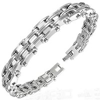 Stainless Steel Silver-Tone Link Chain Mens Bracelet