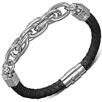Black Genuine Leather Braided Silver-Tone Stainless Steel Wristband Mens Bracelet with Clasp