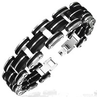 Stainless Steel Two-Tone Black and Silver Mens Link Bracelet