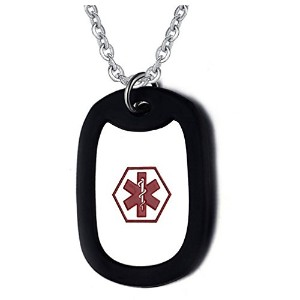PF : Black Stainless Steel Medical Alert ID Necklace for Women Men Jewelry
