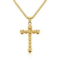 "PF : ""Cross Necklace Men Jewelry Gold Plated Stainless Steel Necklaces Free Chain 24"""""""
