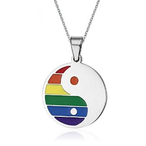 PF : Rainbow Pendant Necklace Stainless Steel for Unisex Cheap Body Jewelry bijoux pendentif