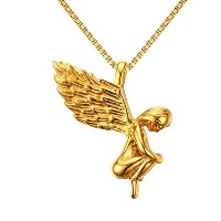 "PF : ""Angel Necklace for Women Men Jewelry Gold Plated Stainless Steel Prayer Necklace Free 24""""..."