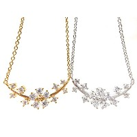 CZ フラワー リーフ チェーン クリップ ネックレス (CZ Flower Leaf Chain Clip Necklace)