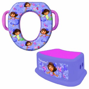 Nickelodeon Dora the Explorer Potty Seat and Step Stool Combo Set, Portable, Easy Cleaning, Purple by Nickelodeon