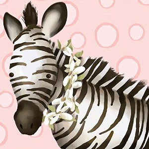 Oopsy Daisy Zoey The Zebra Canvas Wall Art, Pink, 10 x 10 by Oopsy Daisy
