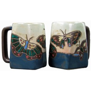 Set Of Two (2) MARA STONEWARE COLLECTION - 12 Oz Coffee Cup Collectible Square Dinner Mugs -...