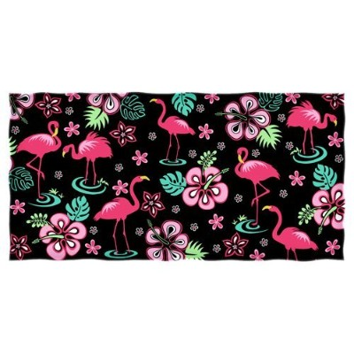 Dawhud Direct Pink Flamingo Hibiscus Towel by Dawhud Direct