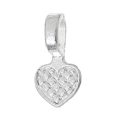 Rockin Beads Brand, 200 Glue on Heart Bails Pendant Hanger Silver Plated 16x8mm by Rockin Beads (TM)