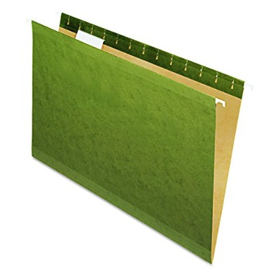 Reinforced Hanging File Folders, Untabbed, Kraft, Legal, Standard Green, 25/Box (並行輸入品)