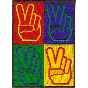 "4 PEACE SIGNS, Officially Licensed Original Artwork, Premium Quality Iron-On / Sew-On, 2.25"" x 3""..."
