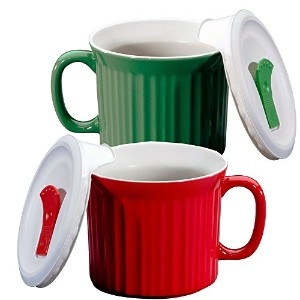 Corningware 20-oz Pop-ins Mug Set Includes 2 Mugs with Vented Plastic Lids (Tomato Red & Green Tea)...