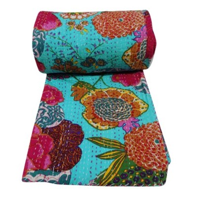 Fruit Reversible Bedspread Pattern Blue Gudri Pure Cotton Kantha Style Queen Size Quilt Bed Spread