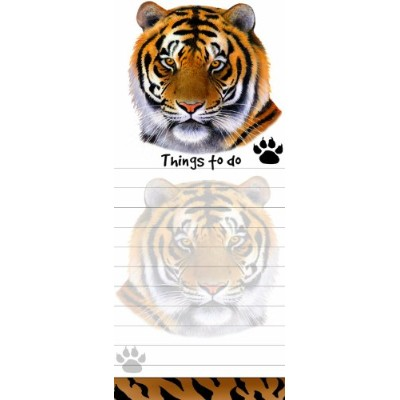 Tiger Magnetic List Pads Uniquely Shaped Sticky Notepad Measures 8.5 by 3.5 Inches by E&S Pets
