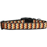 Pumpkin Chevrons Nylon Dog Collar Large