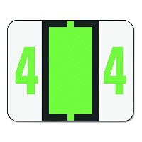 Single Digit End Tab Labels, Number 4, Light Green-on-White, 500/Roll (並行輸入品)