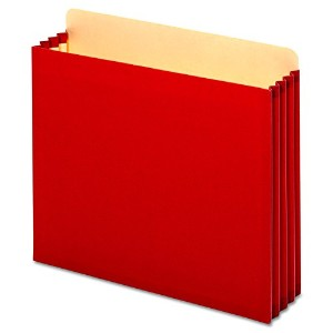 3 1/2 Inch Expansion File Cabinet Pockets, Straight, Letter, Red, 10/Box (並行輸入品)